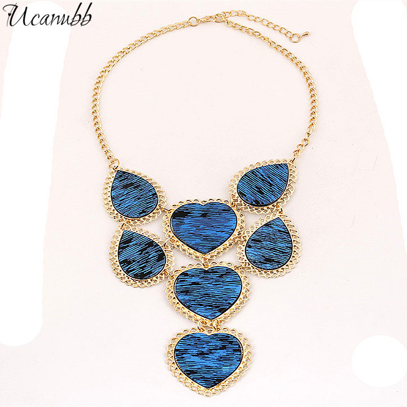European fashion exaggerated gem necklace chain plate peach short heart shape clavicle jewelry accessories wholesale(China (Mainland))