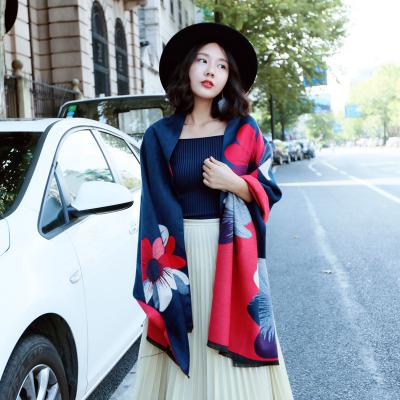 Cashmere-like Plaid Scarf Double Side Print Pashmina Thickened And Warm Fashion All-match Multicolor