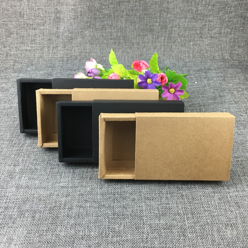 50PCS Retail Crafts Drawer Box Brown Kraft Drawer Boxes Paper Gift box Blank Packaging Cardboard Boxes For match/lighte/Crafts(China (Mainland))