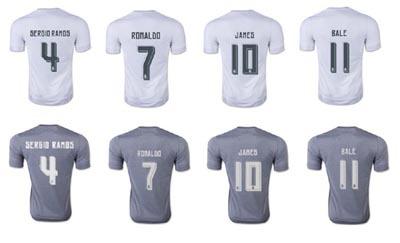 THAILAND Real Madrid 15 16 Champions League AWAY Soccer Jersey Real Madrid Real Madrid RONALDO JAMES Jersey shirt BALE(China (Mainland))