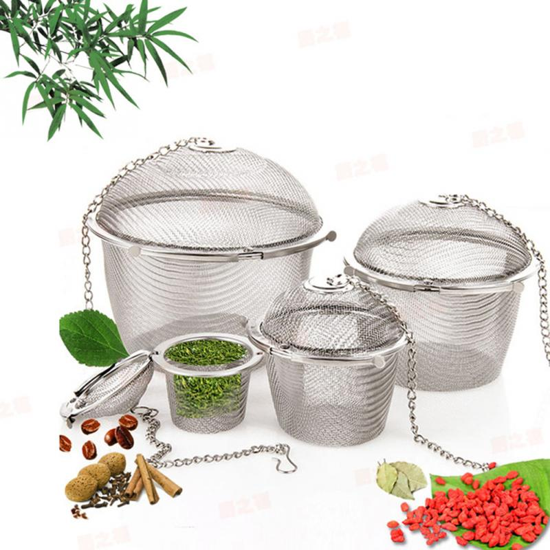Durable 4 Sizes Silver Reusable Stainless Mesh Herbal Ball Tea Spice Strainer Teakettle Locking Tea Filter(China (Mainland))