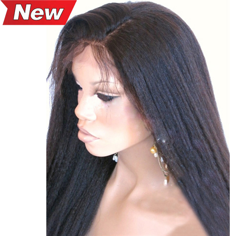 Cheap 180 Density Virgin Brazilian Human Hair Kinky Straight Full Lace Front Wigs With Baby Hair For African American Women Best(China (Mainland))