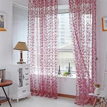 2016 Fashion Stylish Leaves Tulle Voile Door Window Curtain Drape Panel Sheer Valances()
