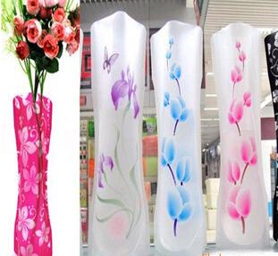 Wholesale 700PCS MIX Size folding PVC foldable small opp bag eco-friendly DIY flower vase free shipping WJA03(China (Mainland))