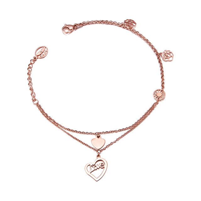 Wholesale anklets love female fashion 18k rose gold double layer chain, 18K jewelry free shipping FJ01