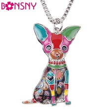 Bonsny Maxi Statement Metal Alloy Chihuahuas Dog Choker Necklace Chain Collar Pendant Fashion New Enamel Jewelry For Women(China (Mainland))