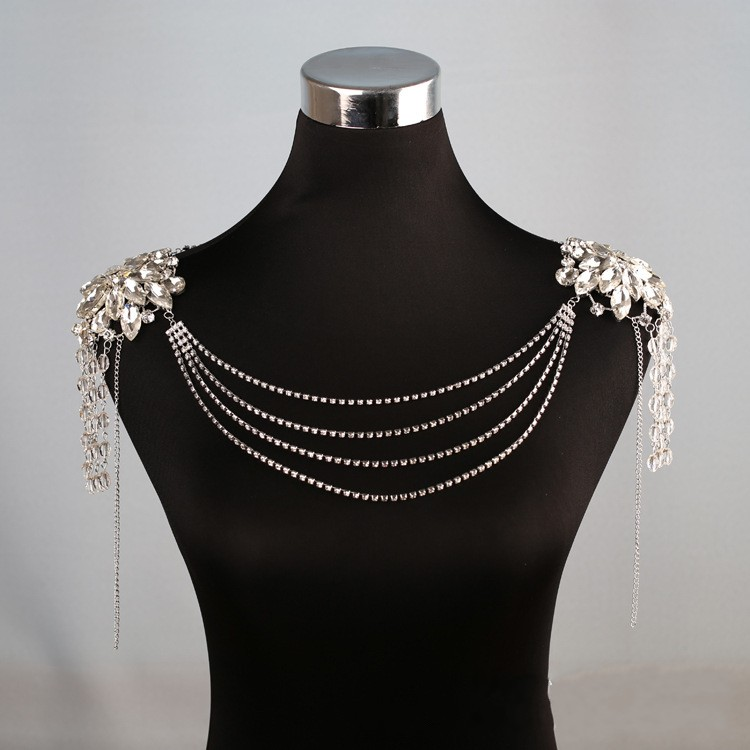 Fashion Crystal Rhinestone Wedding Bridal Shoulder Necklace Handmade Women Party Prom Necklaces Jewelry