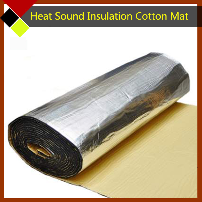 100cm x100cm Aluminum Foil Auto Engine Roof Trunk Heat Soundproof Insulation Absorption Cotton Deadener Waterproof Mat(China (Mainland))