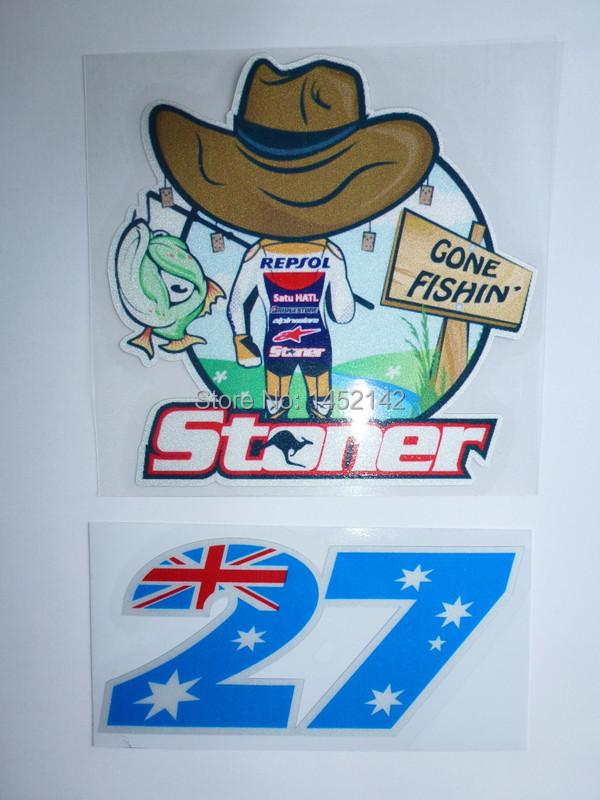 2pcs/lot windows helmet MOTO GP Casey Stoner stickers waterproof ATV N0.27 decals motocross Reflective stickers motorbike(China (Mainland))