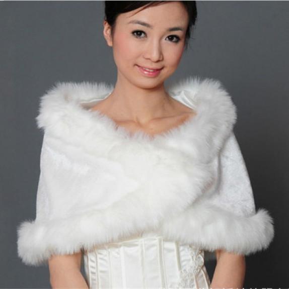 New Ivory Free Shipping Fashion Elegant Warm Coat Faux Fur Bolero Wedding Wrap Shawl Bridal Jacket Coat Accessories OJ00191(China (Mainland))