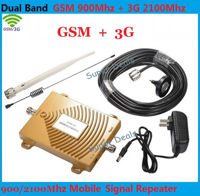 Full Set GSM 900Mhz + 3G W-CDMA 2100MHz Dual Band GSM 3G Repeater Signal Booster, 2G 3G GSM Mobile Phone Signal Repeater Antenna(China (Mainland))