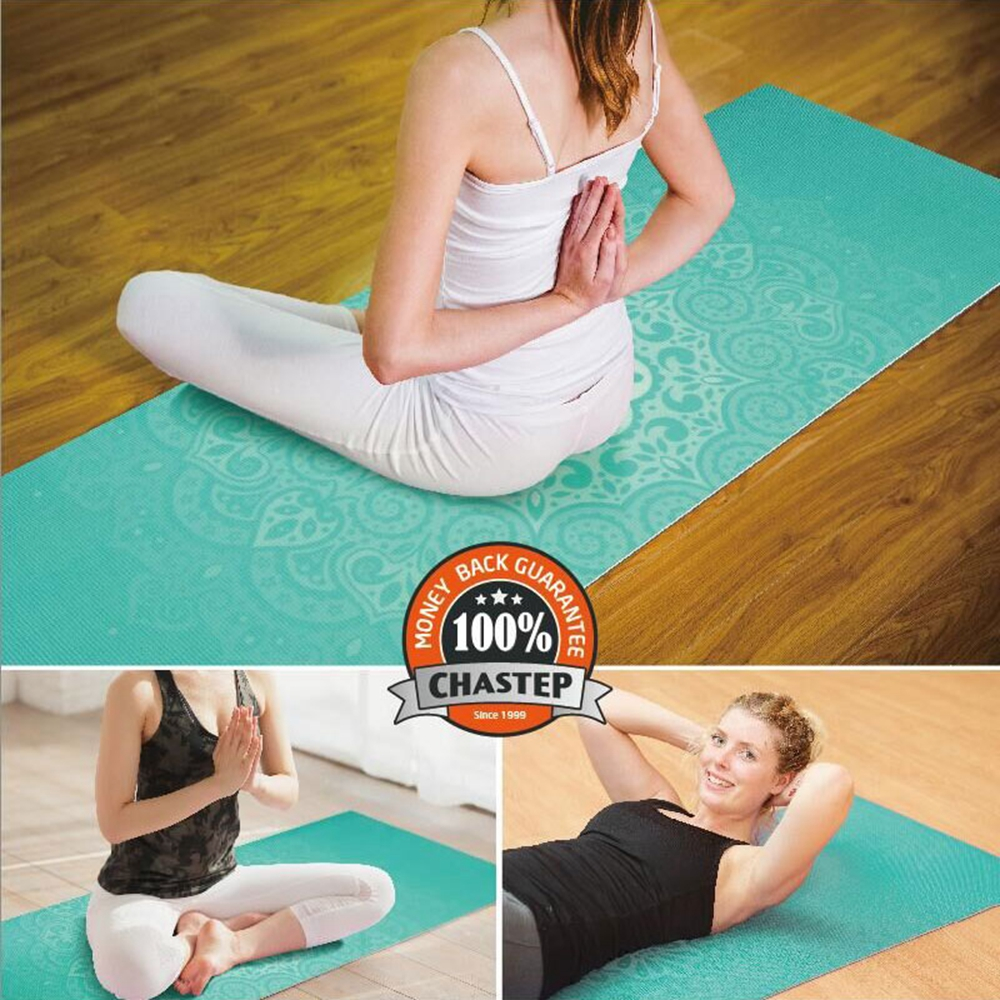 Natural Yoga Mat Chastep 6mm None-Slip Yoga Mat PVC with Bag and Double Layers Fitness Gym Exercise Mat Gymnastics Mats 183*61cm(China (Mainland))