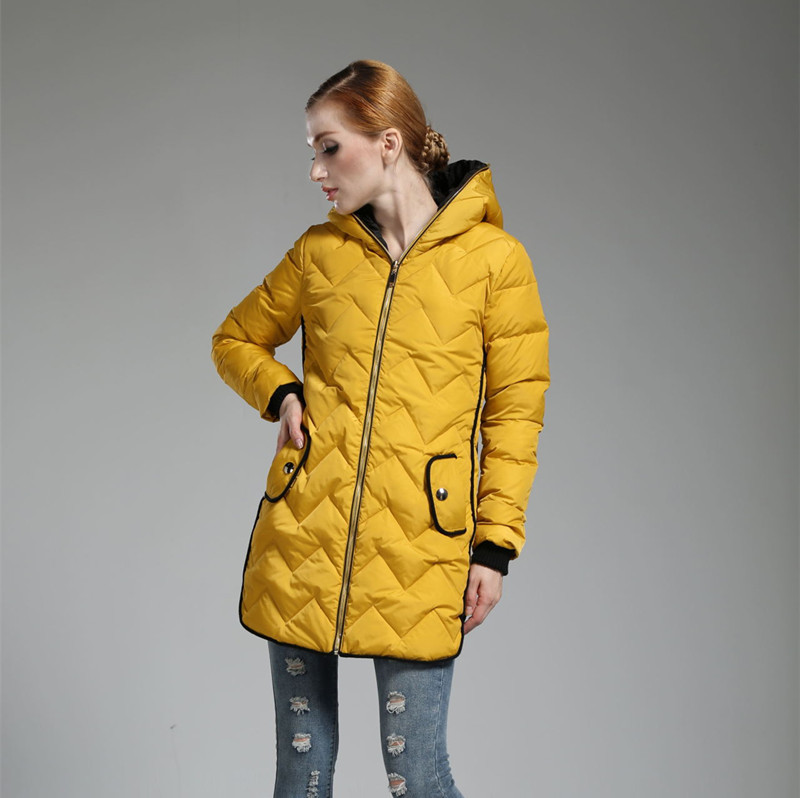 Fashion 2015 Women Winter White Duck Down Coat Long Thicken Hooded Collar Parkas Mujer Slim Thick Warm Winter Down Jacket DQ174