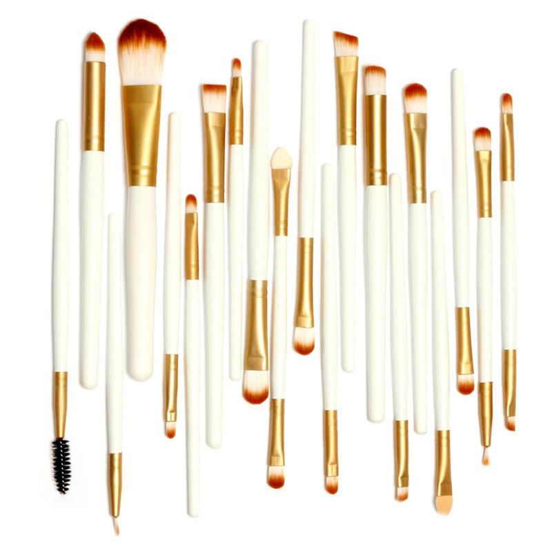 Pro 20Pcs Makeup Brushes White and Golden Colors Set Powder Foundation Eyeshadow Eyeliner Lip Brush Tool with Big Gunny Bag(China (Mainland))