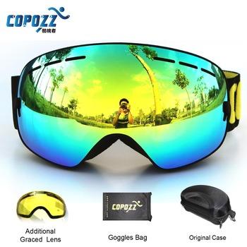 Copozz марка профессиональный лыжные очки 2 с двойными линзами anti-туман UV400 большой сферические лыжные очки лыжи мужчины женщины снег очки комплект