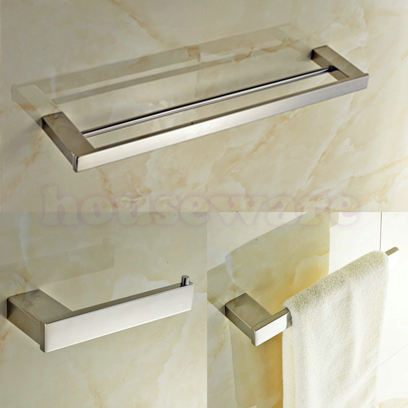 Mirror Polished SUS 304 Stainless steel Bathroom Accessories set 3 Piece Double Towel Bar ,Towel Ring ,Tissue Holder  zx834