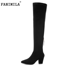 Fashion Sheep Fur Genuine Leather High Winter Women Boots Ladies Sexy Sqaure Heel Pointed Toe Knee Shoes Size 33-40 - Shop1267192 Store store