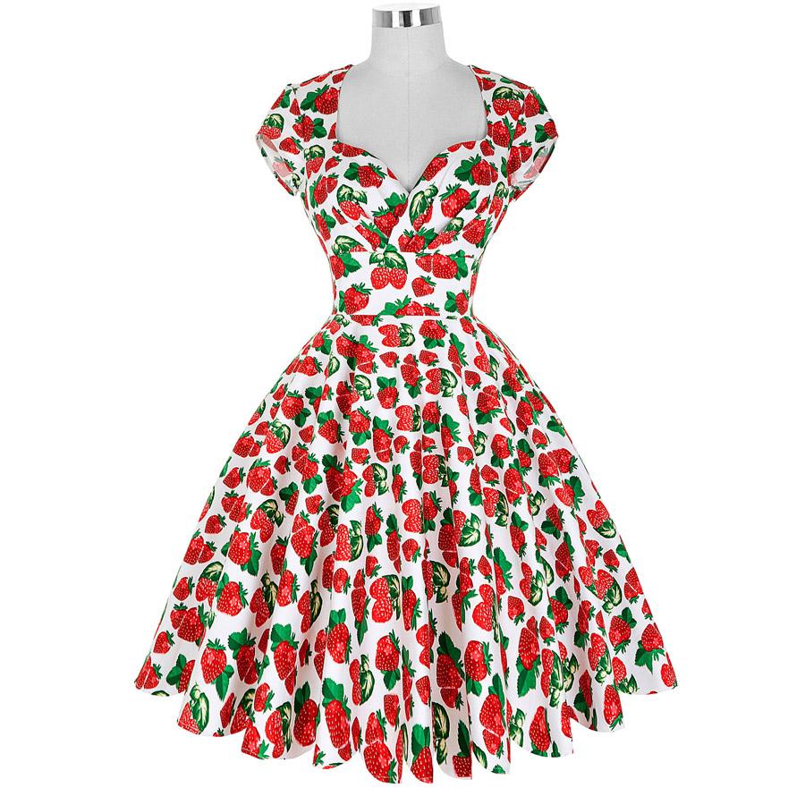 New Arrival 2016 50s rockabilly dress Cap Sleeve V Neck Retro Vintage Cotton Picnic dresses swing pinup vestidos women elegant