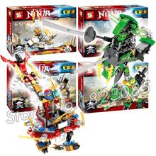 4pcs/set SY231 2016 Hot Ninja mech chariot bricks model building blocks minifigures Bricks Wu Kai Nya lloyd Compatible Lego - Baby Rhythm store
