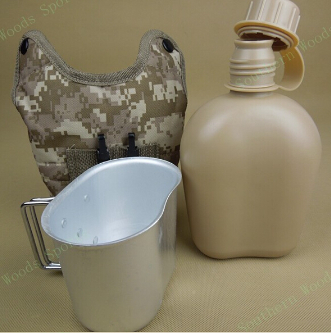 Free shipping Outdoor1L polymer army military camping water canteen water bottle kettle,warm fluff bag+aluminum cup total 3 Suit(China (Mainland))
