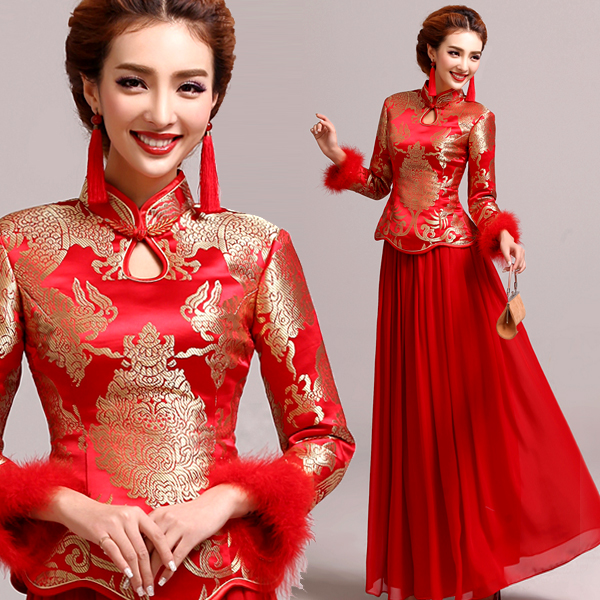 Chinese traditional style wedding dress toast cheongsam for Traditional red chinese wedding dress
