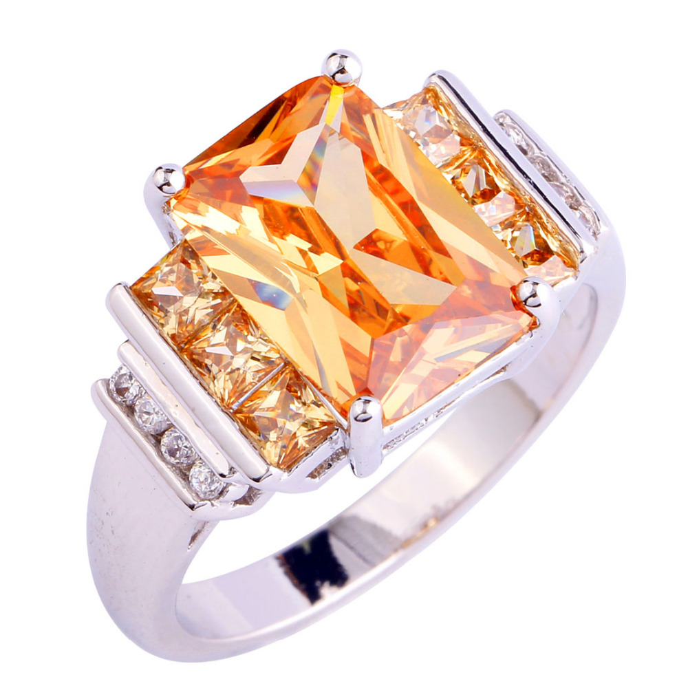 Wholesale Stylish Bright Emerald Cut Morganite 925 Silver Ring Size 10 New De