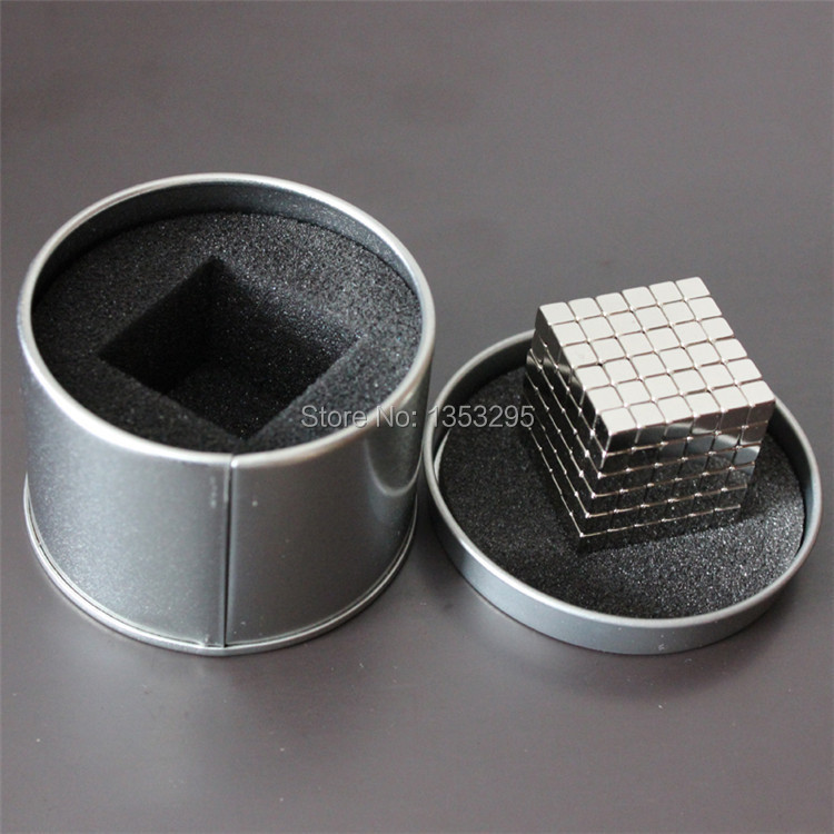 5MM 6x6x6 216/LOT Silver Buckycubes Bucky cubes Neocube Buckyballs Neodymium Magnet Square cube with Gift Box(China (Mainland))