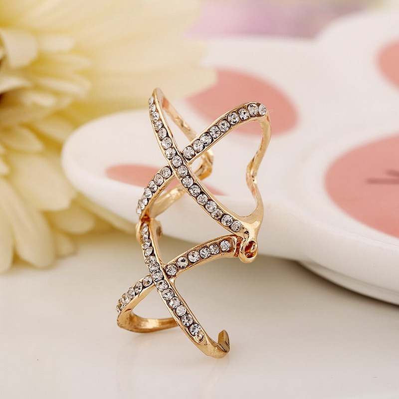 1Pcs Textured Ring Unique Finger Decoration Two Rhinestone Cross Ring(China (Mainland))