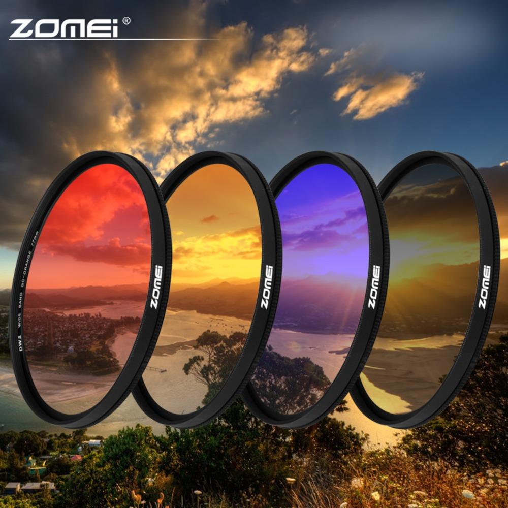 Фотография ZOMEI 40.5/49/52/55/58/67/72/77/82mm Ultra Slim frame Graduated Grey(ND) Blue Orange Red filter kit for Canon Nikon Sony camera