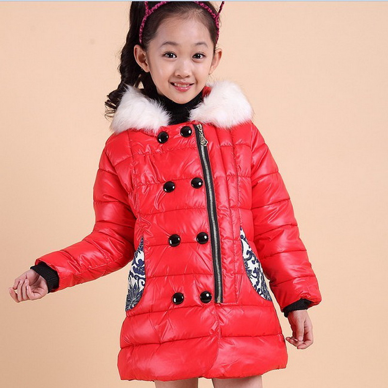 2015 Fashion Patchwork Children Gril Outerwear Coat Two Color Long Warm Down Coats For Winter<br><br>Aliexpress