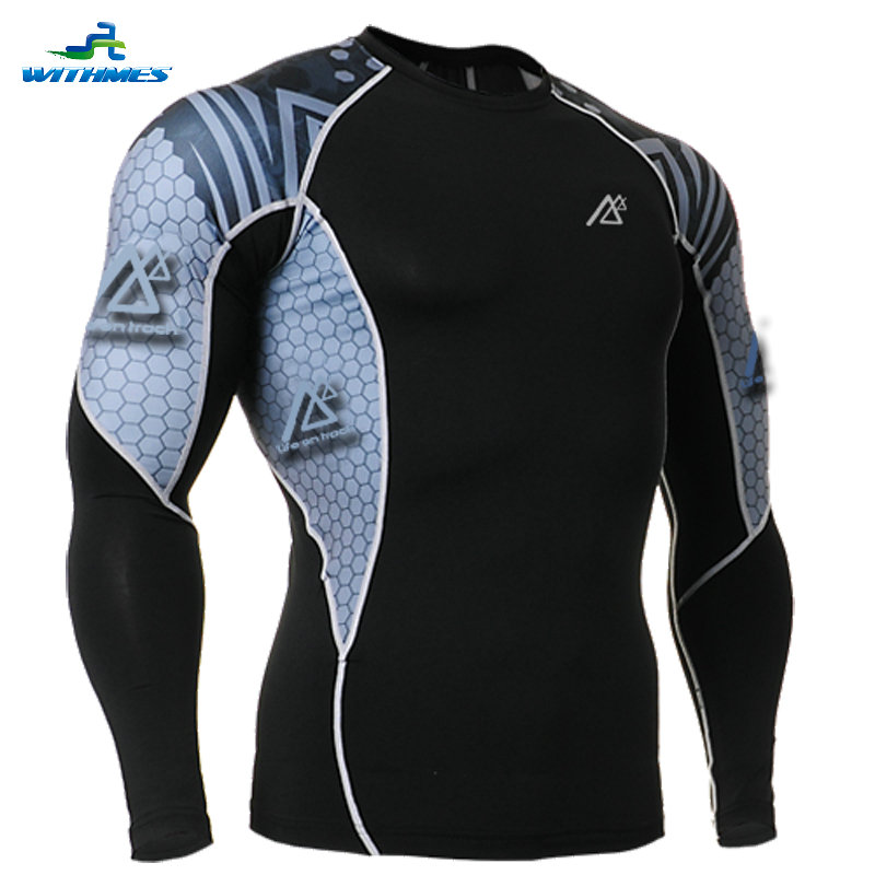 C2L-B41 Latest Elastic Long Sleeves Soccer Jersey Tight Clothes Compression Hunting Base Layers Men's Mountain Bike MTB T Shirt