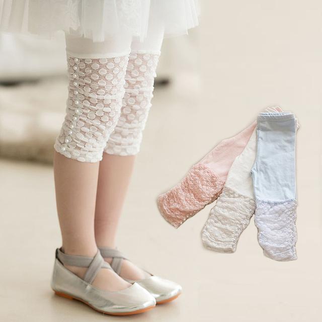 Высокое качество 2016 летних девочек леггинсы брюки кружева хлопок детская одежда цветочница колена брюки