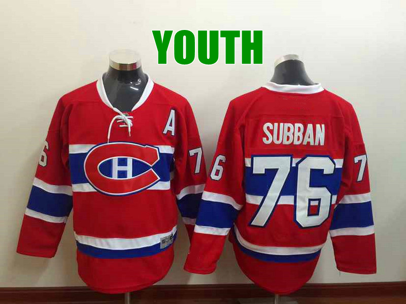 Discount Kids Montreal Canadiens Hockey Jerseys #76 P.K. Subban Jersey Youth Home Red Cheap Stitched China
