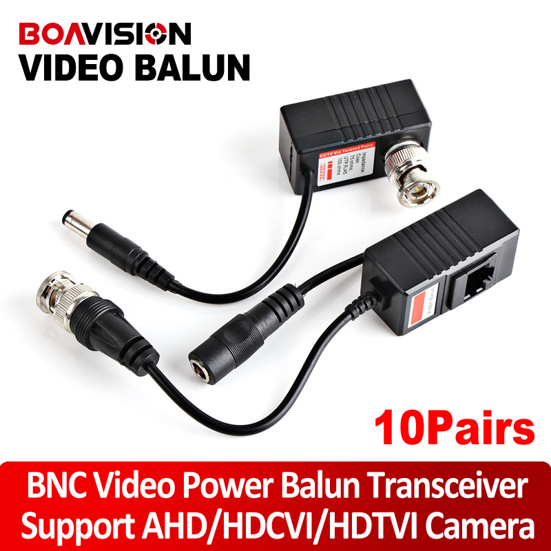 10Pair CCTV CAT5/5E/6 Cable Balun RJ45 Video Power Balun Video Power Transceiver For HD AHD,HDCVI HDTVI 720P/1080P CCTV Camera(China (Mainland))