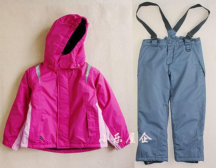 Children's clothing winter child ski outdoor jacket child suit set wadded jacket bib pants twinset(China (Mainland))
