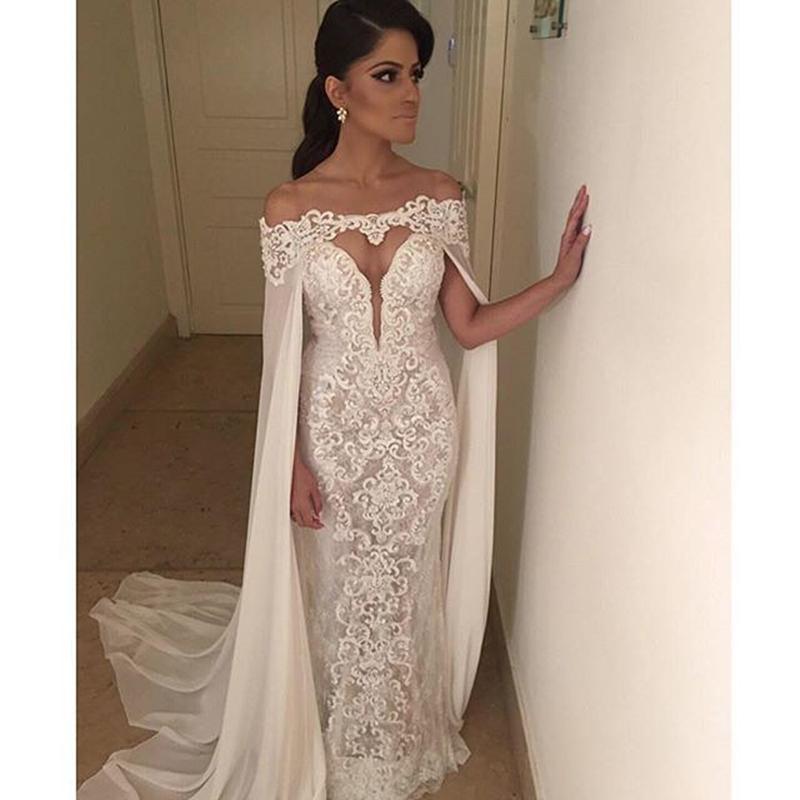 Saudi Arabia wedding dress with cap sexy backless wedding dresses v neck long sleeve Appliqued lace mermaid wedding dress 2015(China (Mainland))