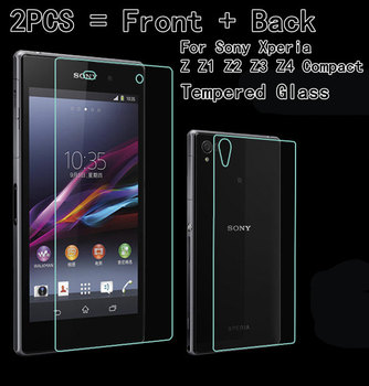 2PCS = Front + Back Premium Tempered Glass For Sony Xperia Z Z1 Z2 Z3 Z4 Z5 Compact Mini M4 M5 Case Screen Film Protector