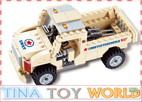 Free shipping 175pcs/set educational Bricks Building Blocks Ford Off-Road Military Vehicle children toys(China (Mainland))