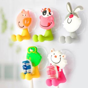 Free shipping  cute  Cartoon sucker toothbrush holder / suction hooks 5pcs/lot