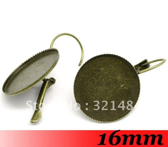 Antique bronze 500piece 16mm Round with Teeth Cabochon Setting Leverback earring hooks & wires ~ Earring Base ~ Earring Blanks(China (Mainland))