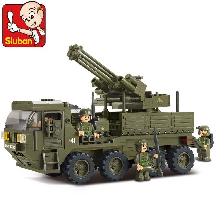 Free Shipping Building Block Set model 3D heavy transport truck army antiaircraft artillery Assembled educational toys with lego(China (Mainland))