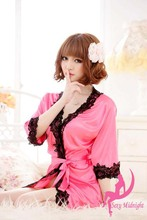2013 Sexy Lingerie New Silk Robe Lace Rim Dress Sexy Sleepwear lady pajamas free shipping(China (Mainland))