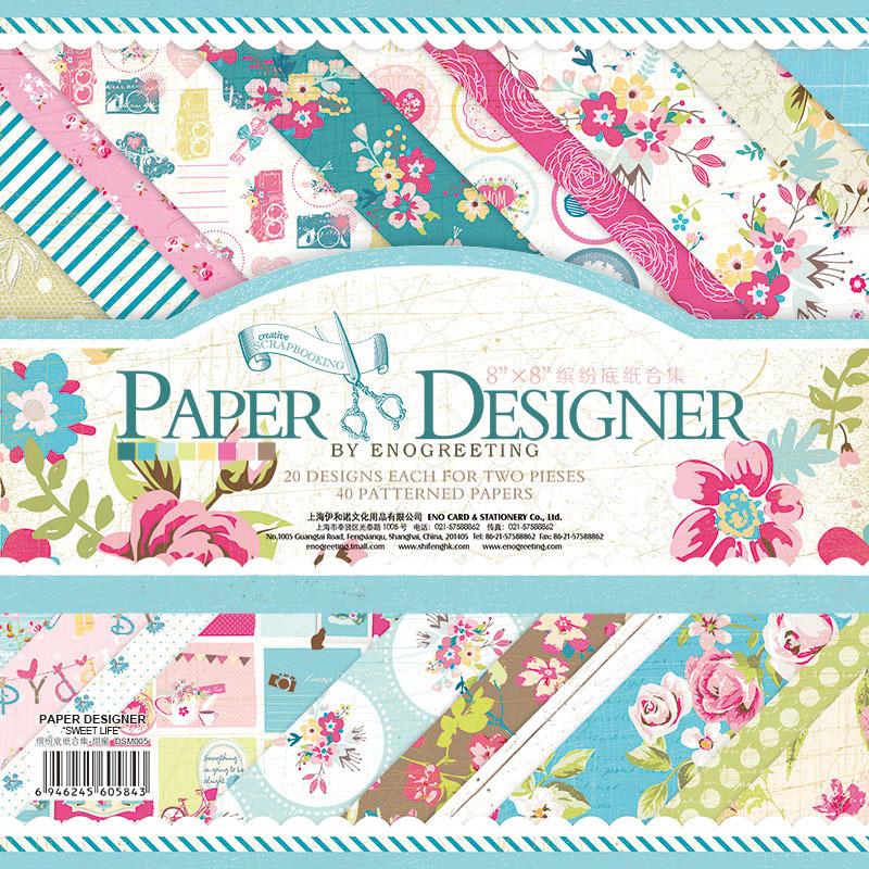 40sheets/lot 2015 new arrivals pretty cute floral pattern creative papercraft art paper handmade scrapbooking kit set books(China (Mainland))