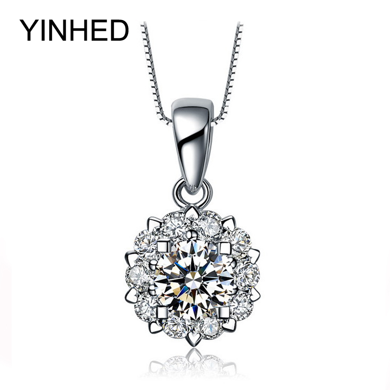 2016 New Trendy Snowflake Cubic Zircon Pendants Necklaces Real 925 Sterling Silver Fashion Jewelry Necklace for Women Gift ZN046(China (Mainland))