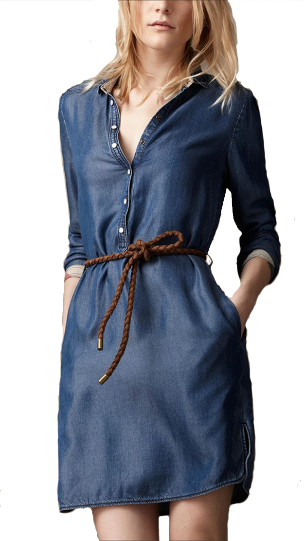 Fantastic Women Long Sleeve Denim Jeans Dress Blue Loose Hole Stand Collar Women