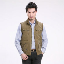 Spring Autumn Chinese Mens Army Green Khaki Cotton Travel Vest Multy Pockets Stand Collar Sleeveless Jackets Coats Plus Size 40s(China (Mainland))