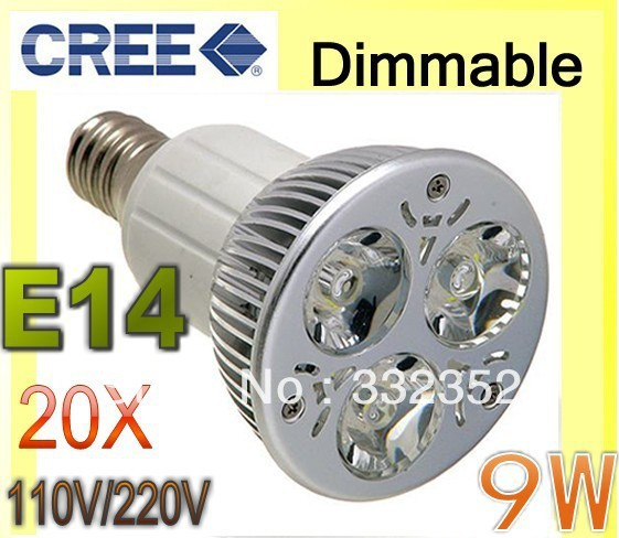 Free shipping 20pcs/Lot Dimmable 9W 3x3W E14  85-265V Focus Ceiling Bulb Down Spot Light LED Lamp