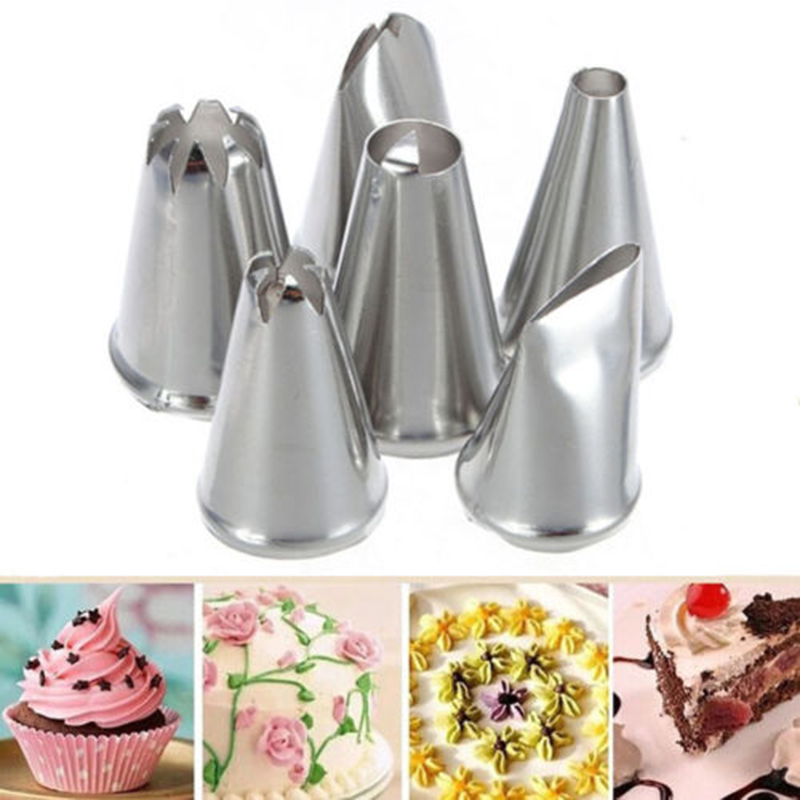 Azerin 6X DIY Stainless Steel Icing Piping Nozzles Pastry Tips Fondant Cup Cake Baking Free Shipping(China (Mainland))
