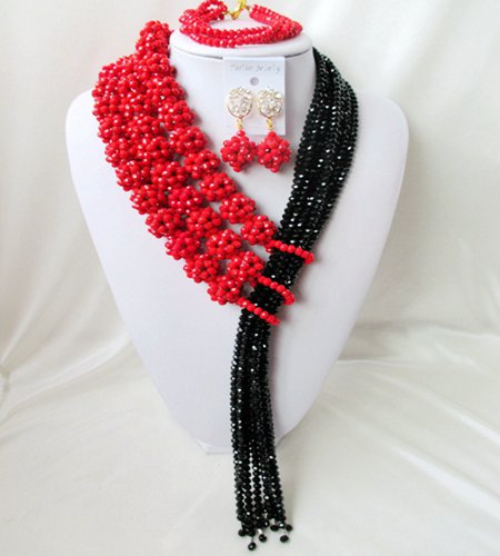 Здесь можно купить  Modelling Of Unique Beautiful red and black Crystal Wedding Jewelry Sets For Brides Fashion Jewelry Free Shipping A-18921  Ювелирные изделия и часы