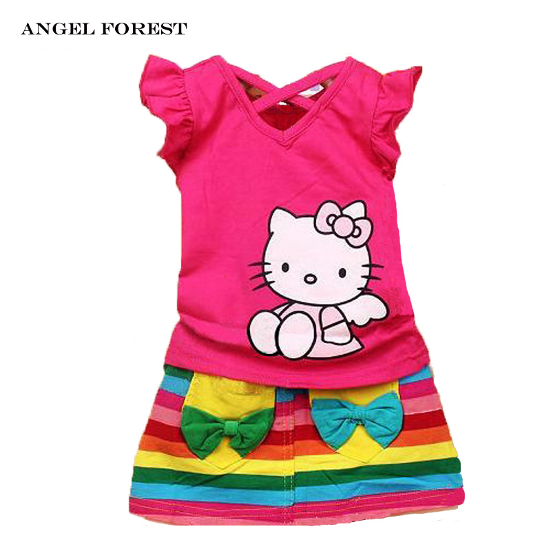 girls clothing sets new 2016 summer Hello Kitty short sleeve T-shirt + rainbow color skirt suits kids summer clothes(China (Mainland))